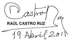 Mensaje de Raúl a los compatriotas